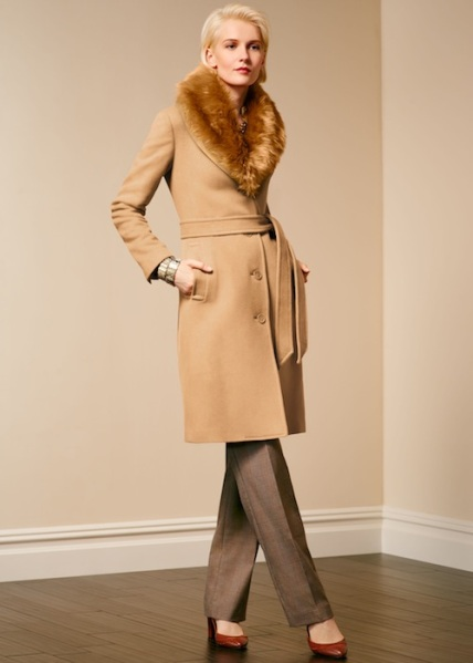 Talbots-Faux-fur-collar-belted-coat
