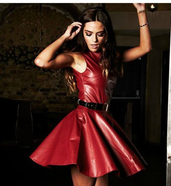 2013-Women-s-Bandage-Dress-Vest-Short-Cap-Sleeve-Cocktail-Party-Dresses-Red-Prom-Dresses-Leather