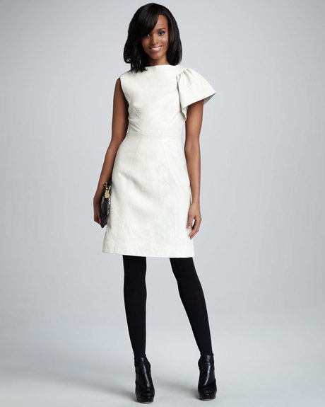 milly-winter-white-fiona-onesleeve-leather-cocktail-dress-bootiesboots