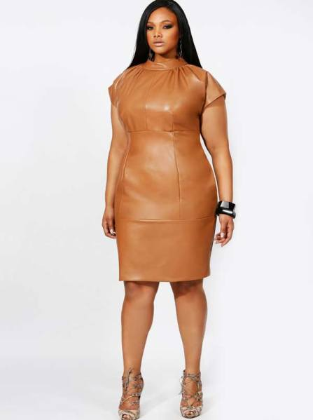 Plus-Size-women-in-brown-leather-dress