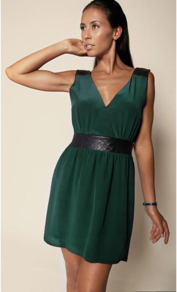 robe-soie-cuir-matelasse-greendressblackleatherbelt